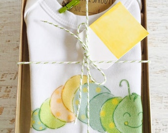 Baby Gender Neutral baby gift, Organic Cotton Bodysuit, Caterpillar, Baby Gift Set, Organic Baby Clothes