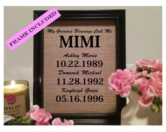 FRAMED My Greatest Blessings Call Me Mimi, Gift for MIMI, Birthday Gift For Mimi, Gift for MIMI, Mimi Gift, Easter gift, mother's day