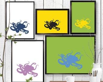 Octopus Print, Ocean Wildlife Wall Art, Animal, Nautical Room Decor, Poster, Child Baby Nursery A4 A3 A2 8x10 11x14 12x18 16x20