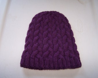 Purple cabled hat