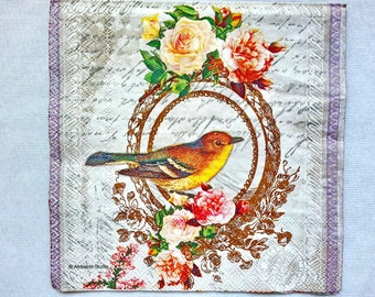 2 pcs.Decoupage BIRD WIHT ROSES vintage napkins,paper napkin for decoupage,lunch napkin,scrapbooking & paper craft projects,mixed media