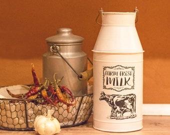 """Deco Milkjug """"FARM FRESH MILK"""" (vintage scene)"""