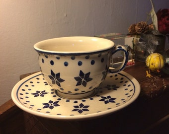 Polish Pottery Cup and Saucer