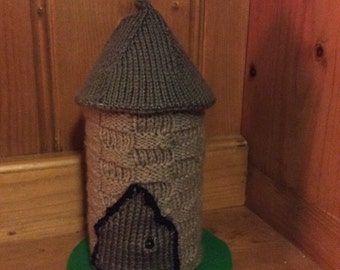 Hand knitted princess castle turret