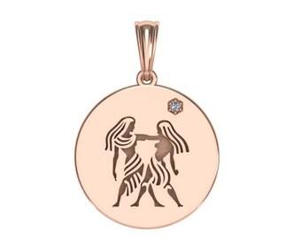 Gemini Necklace, Zodiac Jewelry, Zodiac Necklace, Gold Necklace, Rose Gold Jewelry, White Gold Necklace, Solid Gold Zodiac Necklace