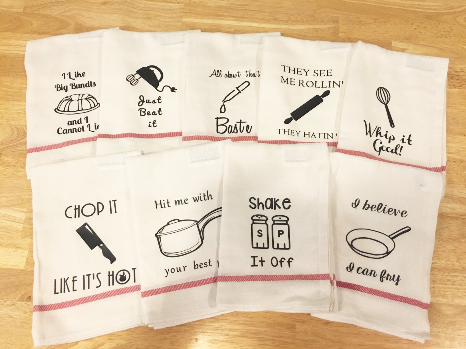 Funny Kitchen towels housewarming gift. 9 sayings kitchen puns