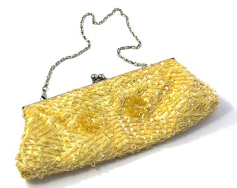 Yellow beaded special occasion purse wristlet