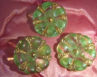 Vintage Glass Buttons 3 Green & Clear Flower Buttons with Gold Lustre Trim Self Shanked approx 3/4 inch (18mm) sew craft jewelry