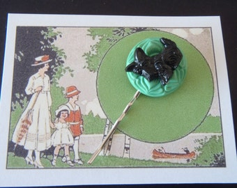 Very Cute Scottie Dog Hairpin Handmade on old style card