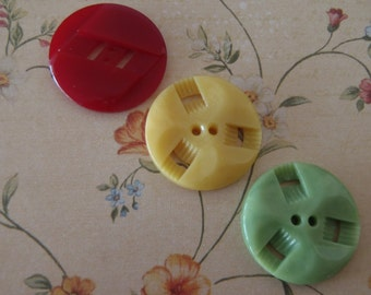 Vintage Buttons 3 French Casein Art Deco Buttons in Period Colours Dark Red Soft Green Mellow Yellow 24mm (approx 1 inch) diameter