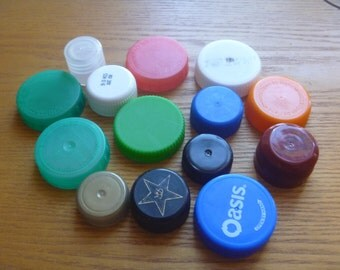 plastic bottle tops, plastic bottle caps for use in crafts, recyclable craft supplies
