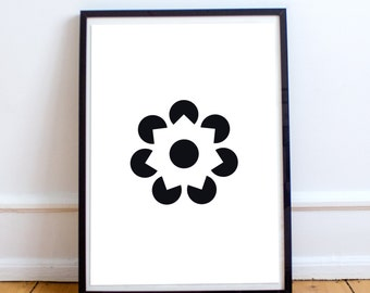 Flower - Black and White Minimal Print