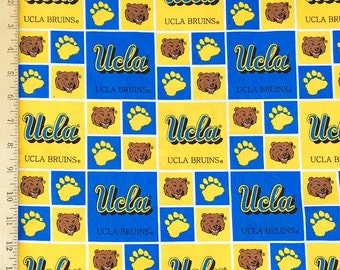 UCLA Fabic, UCLA Bruins Fabric, UCLA Blue Yellow Fabric, 100% Cotton Fabric by the Yard