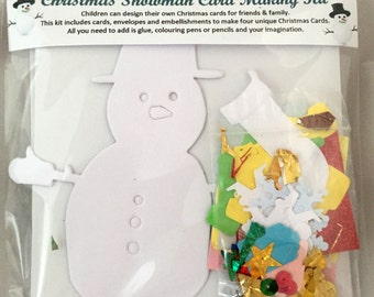 Children's Snowman Christmas Card Making Kit - featuring christmas trees, papers and embellishments - makes 4 unique cards