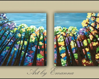 "SALE, Original Painting, Absract Trees Painting, Large Canvas Art Set of 2, Modern Wall Art, 24""x120"" Ready to Hang"