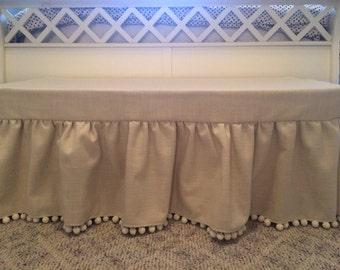 Custom Made Ottoman Cover Duck Fabric with Pom Pom Trim Hand Made Bench Cover Stool Cover