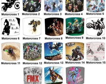 Motocross Bike Print Lamp shades, To Fit Either a Table Lamp base or a Ceiling Light Fitting.
