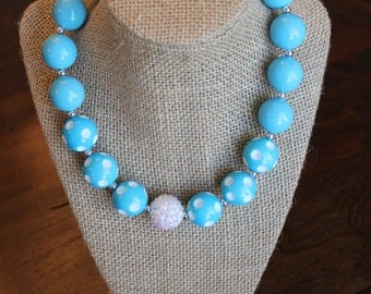 Turquosie Polka Dot and Solid Bubblegum Necklace