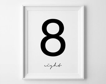 Number 8 Printable, Digital Print 18x24, Number Eight, Printable Numbers, Number Wall Decor, Number Printable, 8 Digital Print