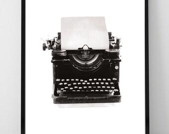 Vintage Typewriter Print, Antique Typewriter, Inspiration , Wall Art Home Dorm Room Office Decor Gift