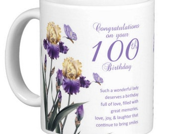 100th birthday gift mug, with Iris, butterflies and a lovely verse, double sided, Gift Mug