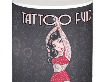 Tattoo Saving Fund, Fun And Stylish Ceramic Money Box / Piggy Bank