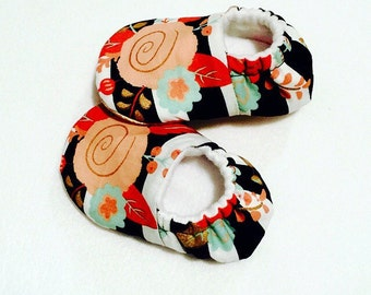 Floral moccasins baby booties slippers crib shoes