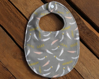 Gray Feather Baby Bib