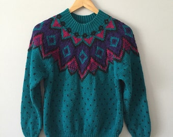Teal Tribal Sweater