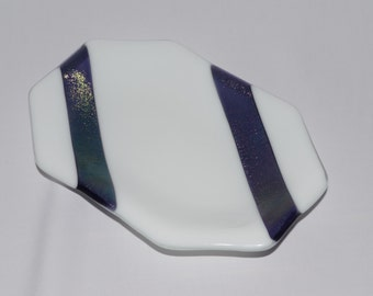 White Tray with Irridescent Purple Ribbons