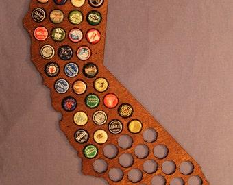 Beer Cap Map of California, Large, Honey Brown finish