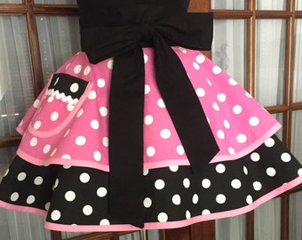 Minnie Mouse Inspired Apron - Polka Dot Apron - Minnie Mouse Half Apron - 1950s Retro Pin Up Apron