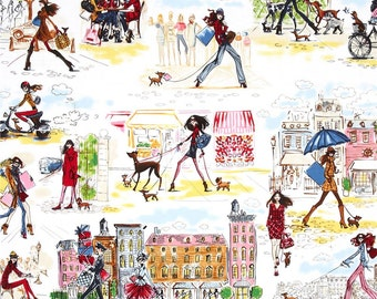 Robert Kaufman Who's that Girl around town fabric robert kaufman girl fabric robert kaufman cotton fabric