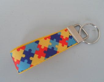 Autism Awareness Handmade Fabric Keyfob
