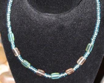 Turquoise and earth toned beaded necklace