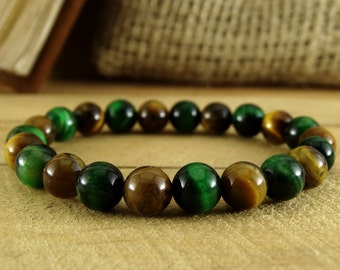 Men bracelet mens jewelry mens gift for him mens bead bracelet boyfriend gift for dad tiger eye bracelet green bracelet protection bracelet