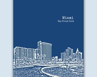 Miami Print, Miami Wall Art, Miami Skyline, Wedding Gift, Miami Art Print,  Miami Florida Art,  Miami Poster,  Miami Decor, Engagement Gift