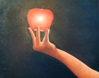 """Unframed Original Oil Painting, """"Temptation"""""""