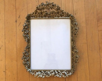 Brass Flowers Vintage Photo Frame