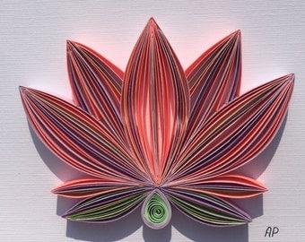Unique Framed Quilled Paper Art: Tender Lotus / Lotus / Wall art / Paper Lotus / Decor / Design / Yogi / Flower / Lorus Flower