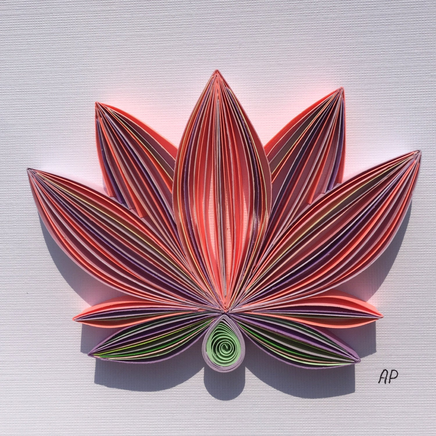 Unique Framed Quilled Paper Art Tender Lotus Lotus Wall