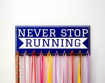 Marathon Medal Holder for Runners, 5K, 10K, Never Stop Running, Running Medal Holder, Running Medal Rack