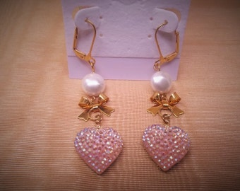Pearly Pink Bow Earrings
