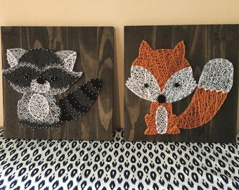 Woodland Creatures Fox & Raccoon String Art Set both 1'x1' Made to Order