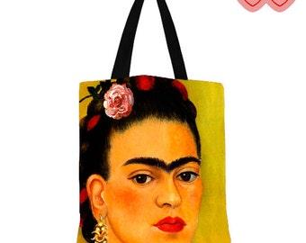 Frida Kahlo de Rivera, Colorful bag, modern tote bag, art print tote bag,  Frida Kahlo, Bright bag,  Frida Kahlo bag,  Frida Kahlo handbag