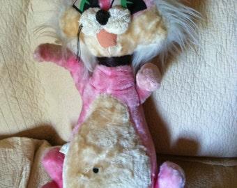 Vintage antique rare large mid century 1960 pink cat stuffed animal plush toy