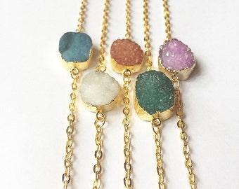 Large Oval Druzy Stone Necklace, Druzy Necklace, Druzy Jewelry, Gold Necklace, Boho Necklace, Oval Druzy, Stone Necklace, Druzy Stone, Gold