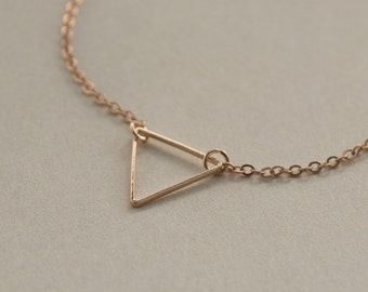 tiny triangle necklace - delicate gold chain - dainty gold triangle - minimalist jewelry - jewelry for everyday - gift for her under 10