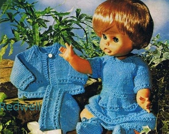 Vintage Baby Dolls Clothes Knitting Pattern.