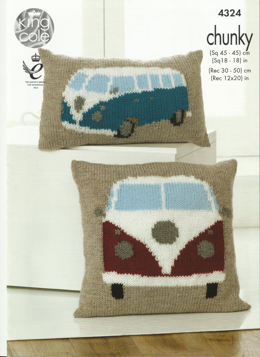 pdf Chunky Campervan Cushions Knitting Pattern.